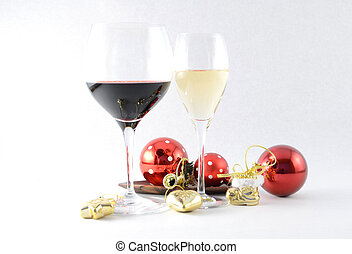 Pair of wineglasses and Christmas toys