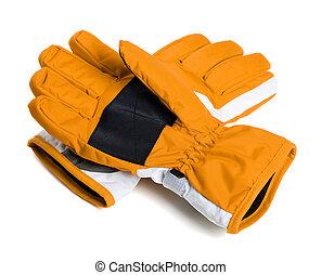Pair of winter ski gloves on white