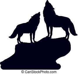 Pair of Wolves on a hill with their heads raised, howl, silhouette on a white background, close up