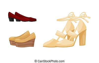Pair of Woman Shoes and Casual Footwear Vector Set