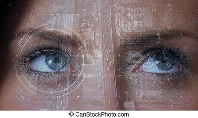 Pair of womans eyes looking
