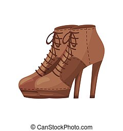 Pair of women ankle boots with laces, side view. Stylish shoes with high heels. Trendy footwear. Flat vector design