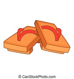 Pair of wooden clogs icon, cartoon style - Pair of wooden...
