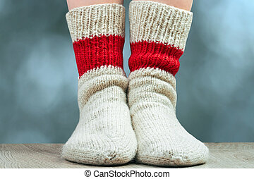 pair of wool knitted socks