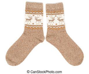 pair of wool socks with a pattern deer