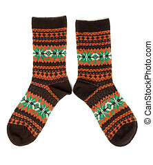 pair of wool socks with a pattern