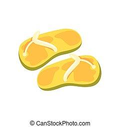 Pair of yellow flip flops cartoon vector Illustration