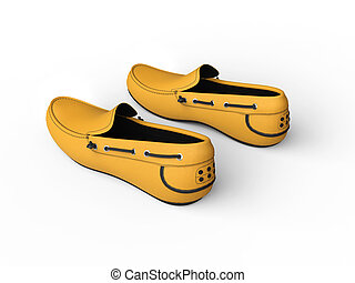 Pair of yellow loafers with black stitching - top back view