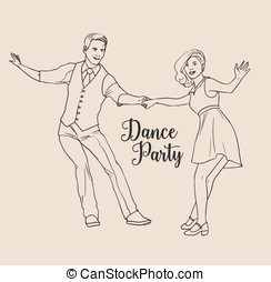 Pair of young man and woman dressed in retro clothing dancing Lindy hop. Couple of dancers demonstrating Swing element. Vector illustration hand drawn with black contour lines on light background.