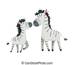 Pair of zebras. Mom and baby. Vector illustration on white background.