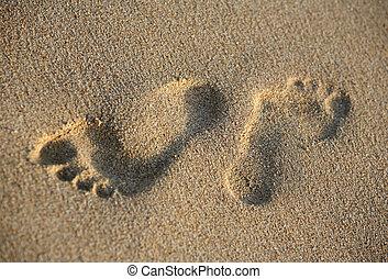 Pair prints of female legs on sand