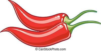 Pair red chile pepper vector illustration eps10 - Pair red...