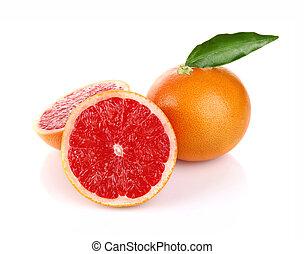 pair ripe juicy grapefruit with green leaf