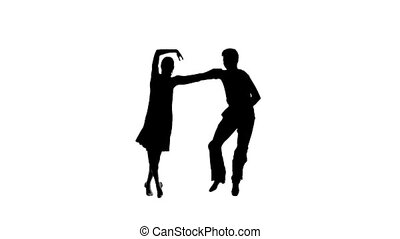 Pair silhouette professional dancing jive on white background. Slow motion