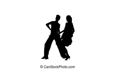 Pair silhouette professional dancing latino on white background. Slow motion