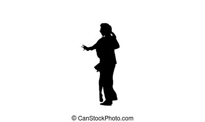 Pair silhouette professional dancing modern on white background. Slow motion