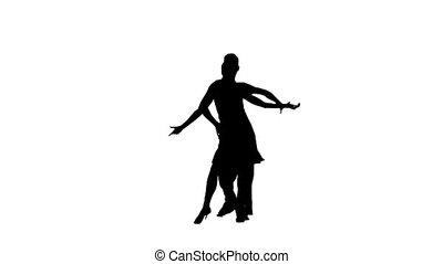 Pair silhouette professional dancing rumba on white background. Slow motion