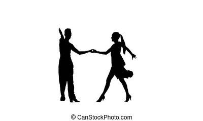 Pair silhouette professional dancing samba on white...