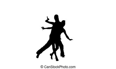 Pair silhouette professional dancing salsa on white background. Slow motion