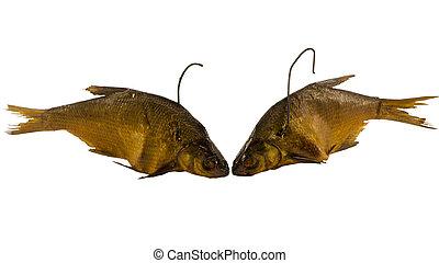 pair smoked bream fish isolated on white