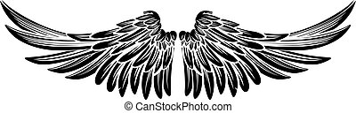 Pair Wings - Spread out eagle bird or angel wings