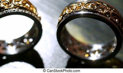 paire, anneaux, mariage