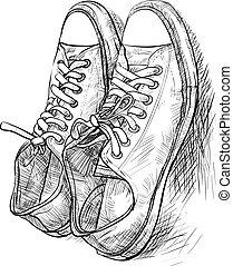 paire, chaussures, ombre, désinvolte
