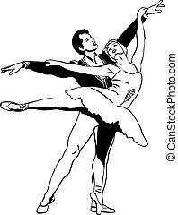 paire, croquis, pose, danse ballet