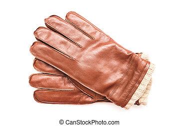 paire, cuir, gants, brun