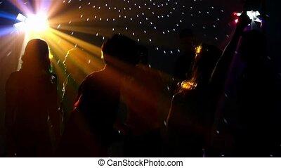 paire, danseurs, danse, dans, projecteur, à, les, club,...
