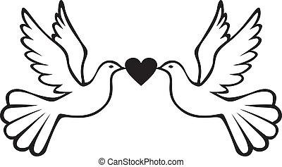 paire, de, colombes, à, coeur