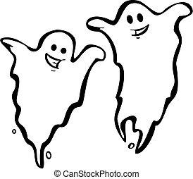 paire, de, fantômes