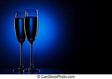 paire, de, flûtes champagne