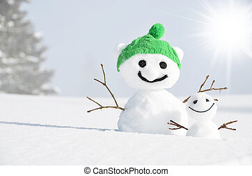 paire, de, rigolote, snowmen