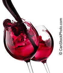 paire, de, verre, à, vin rouge, éclaboussure