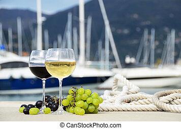 paire, de, verres vin