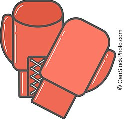 paire, gants boxe, rouges, illustration