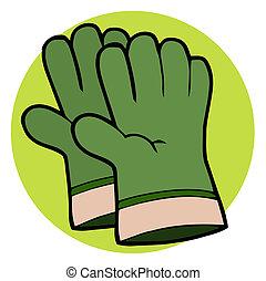 paire, gants, jardinage, vert, main
