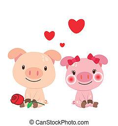 paire, illustration, cochon