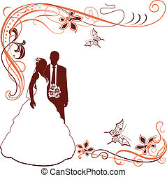 paire, invitation, mariage