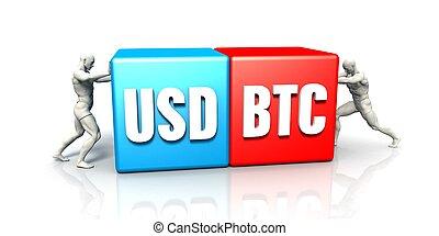 paire, monnaie, usd, btc
