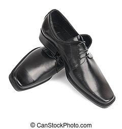 paire, noir, chaussures, homme
