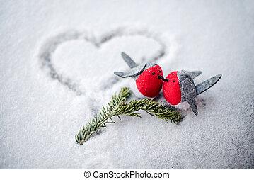 paire, oiseaux, deux, neige