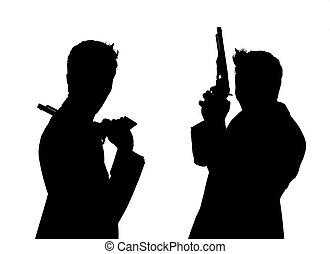 paire, pistolets, silhouette, hommes