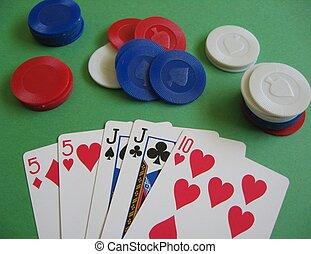 paire, poker, jeu, deux