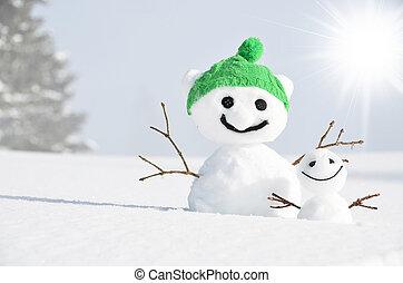 paire, rigolote, snowmen
