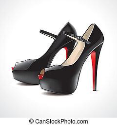 paire, sandales, noir
