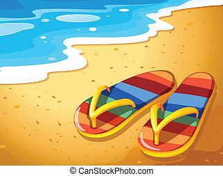 paire, sandales, plage