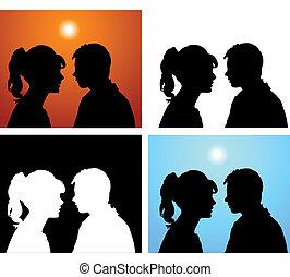 paire, silhouettes, amants