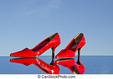paire, stylet, recflections, rouges, miroir
